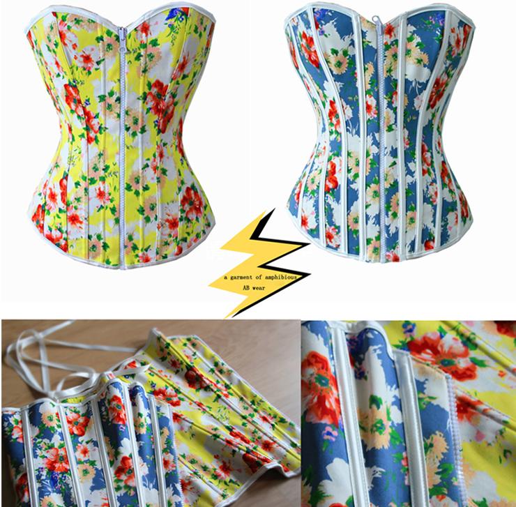 Reversible Floral Print Corset, Rainbow Floral Strapless Corset, Reversible Floral Corset, #N7980