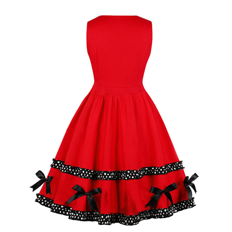 Fashion Dress, Womens Elegant Dress, Elegant Round-neck Sleeveless Dress, Red-black Boutton Midi Dress, Elegant SleevelessDress, Bowknots Round-neck Sleeveless Dress,#N18268