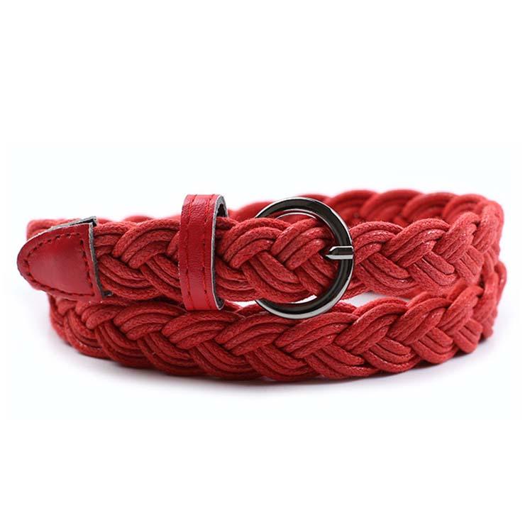 Women's Fashion Red Braided Single Prong Buckle Thin Waist Belt N16056