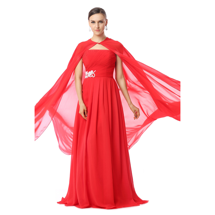 2017 Amazing Red Chiffon Appliques Beading Strapless Sleeveless Floor-Length Evening Dresses F30015