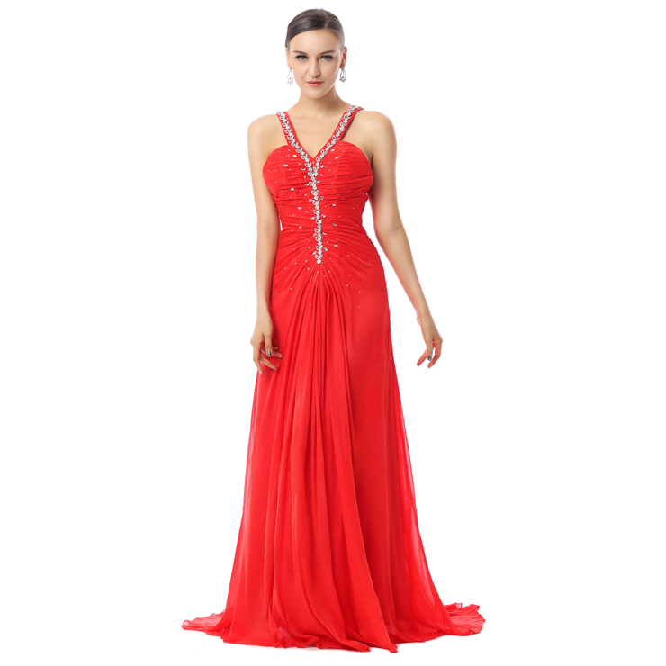 2016 Stunning Red Jewel V-Neck Straps Crystal Chiffon Floor-Length Evening Dresses Y30036