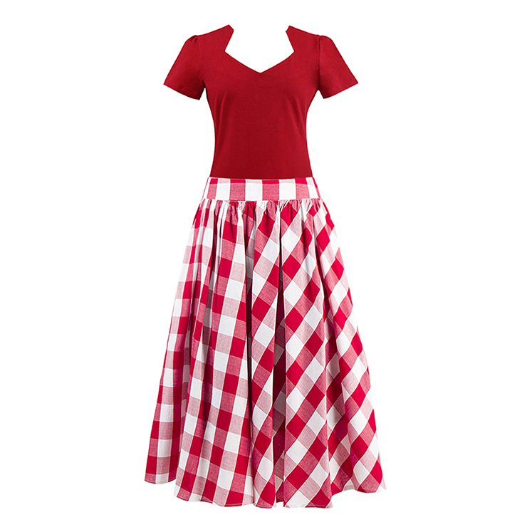 Vintage Red Cut Out Short Sleeve T-shirt and Plaid Skirt Set N12943