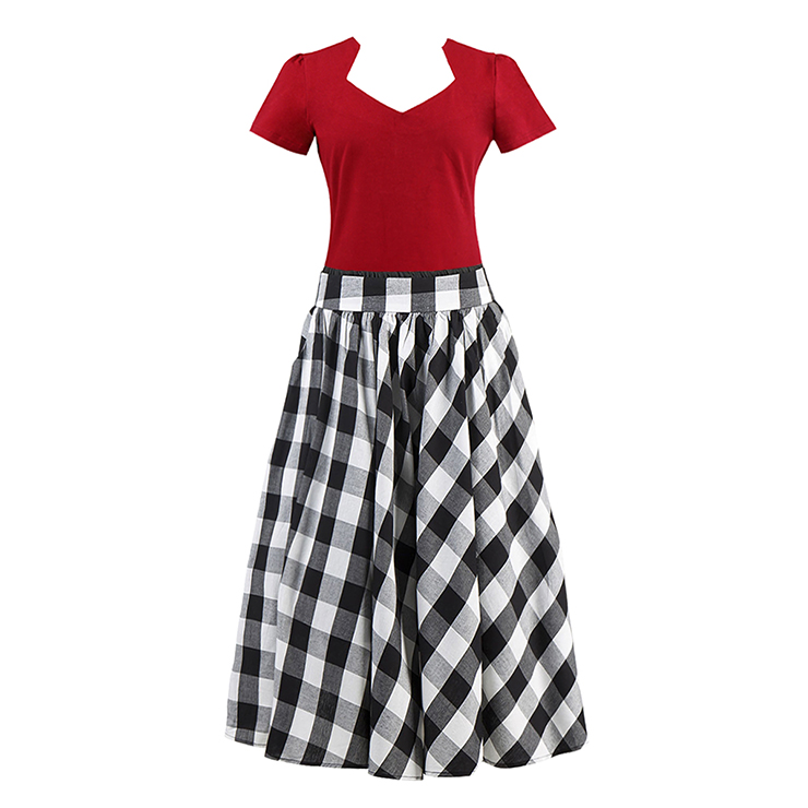 Vintage Red Cut Out Short Sleeve T-shirt and Plaid Skirt Set N12945