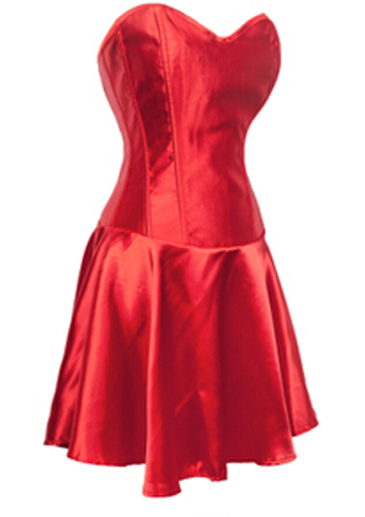 Smooth Satin Corset Dress, Pleated Long Corset Partywear, Red Wedding Corset Dress, Fit and Flare Corset Dress, Strapless Corset Dress, Christmas Corset Dress, #N9170