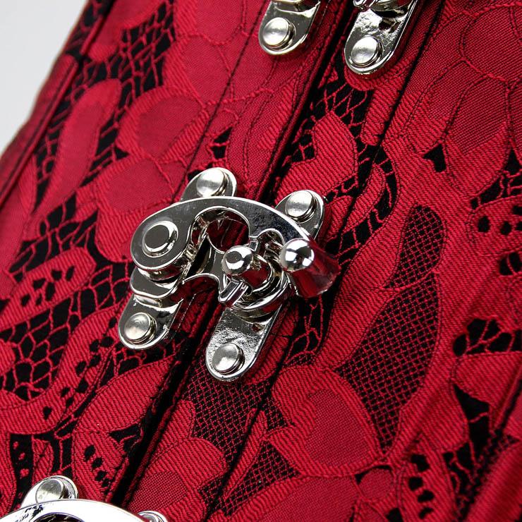 Steampunk Red Brocade Vest Corset, Vintage Steel Boned Vest Underbust Corset, Sexy Brocade Vest Corset, Waist Cincher Vest Underbust Corset, #N15309
