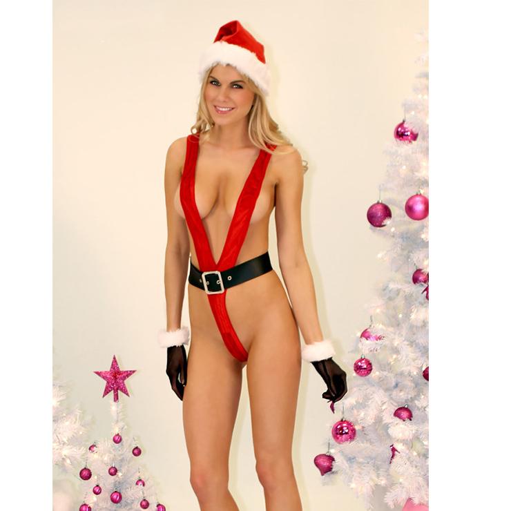 b8c8a4768f2 Flirty One Piece Red Deep V Low Cut High Waist Bodysuit Sexy Christmas  Santa Girl Lingerie Set XT18271
