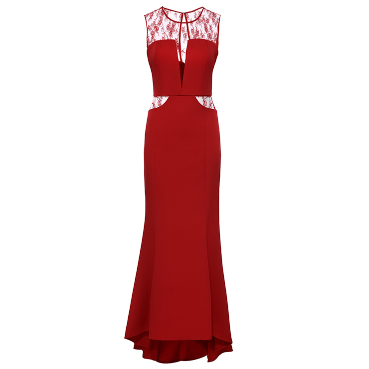 Women\'s Red Lace Illusion Neckline Sleeveless Evening Gowns Wedding ...