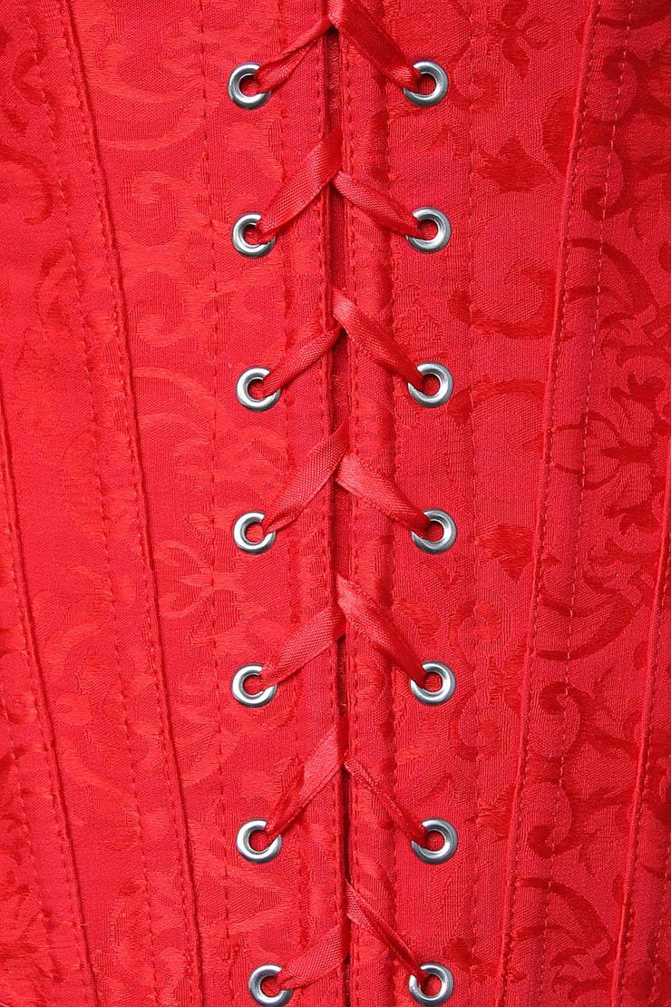 embroidered Corset, Red Tie-Strap Corsets, ruffle tie straps Corsets, #M2672