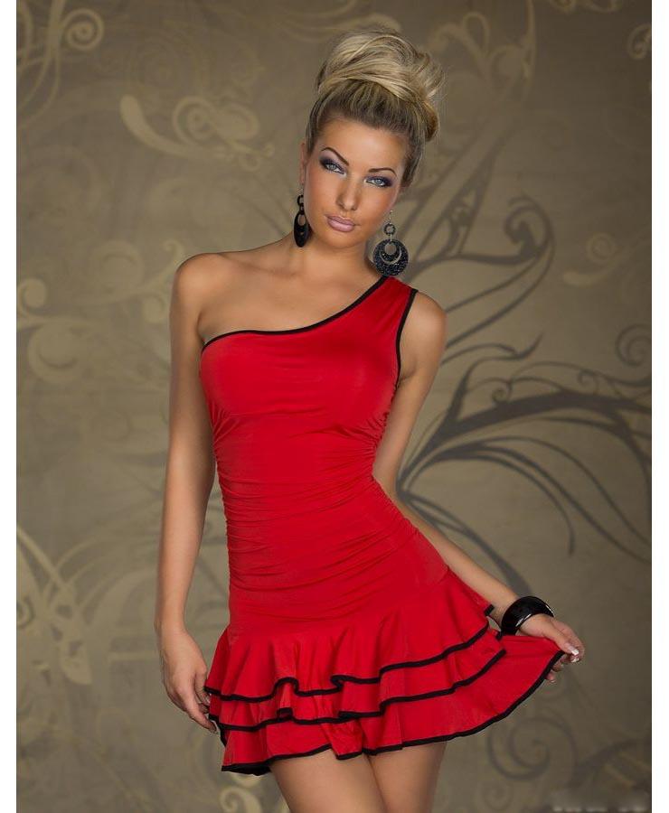 Red Latino Dress With Black Trim Valentine Dress N7870