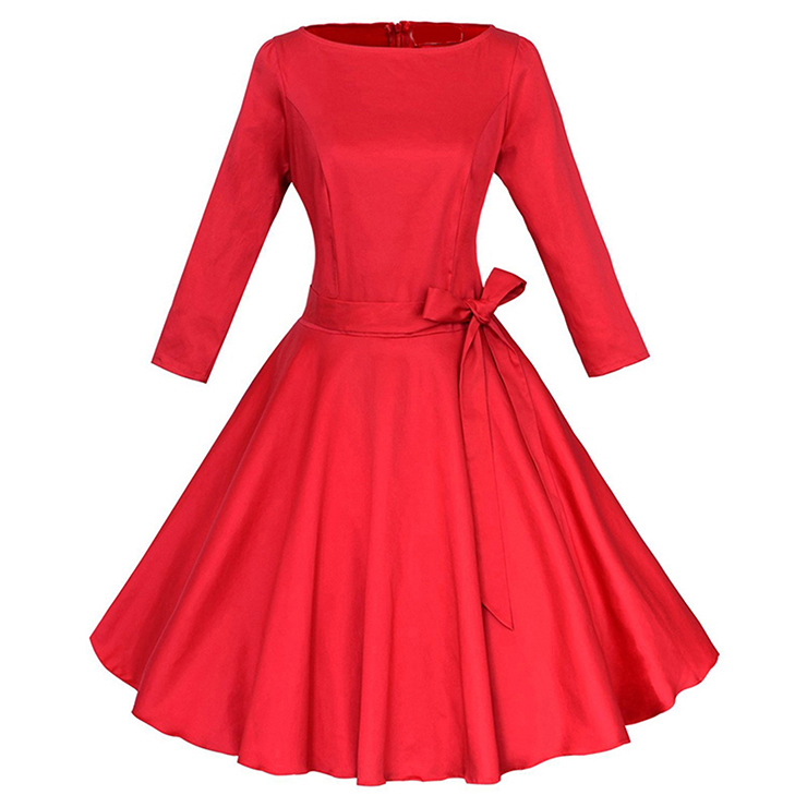 Classic 1950's Vintage Red Long Sleeves Casual Cocktail Party Chrismas Dress N11637