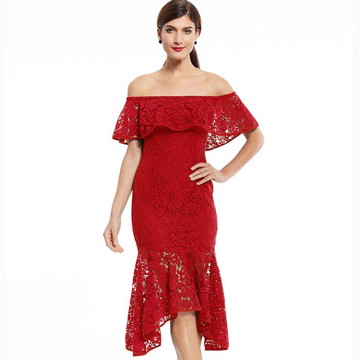 Women s Red Off Shoulder Lace Asymmetric Mermaid Evening Dress N15829 16c1041f64