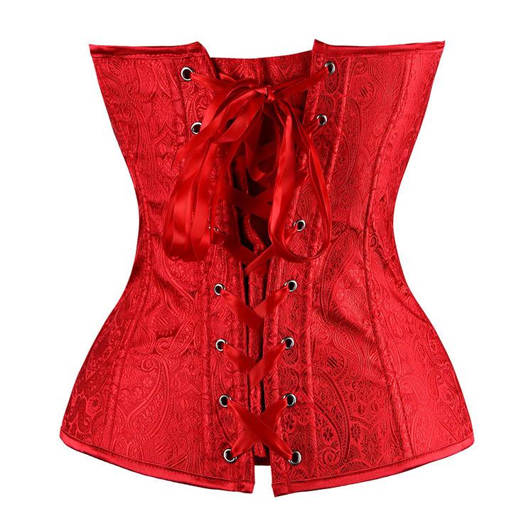 Red Paisley Design Corset, Renaissance Corset Top, Red Renaissance Overbust Corset, Christmas Corset, #N6527