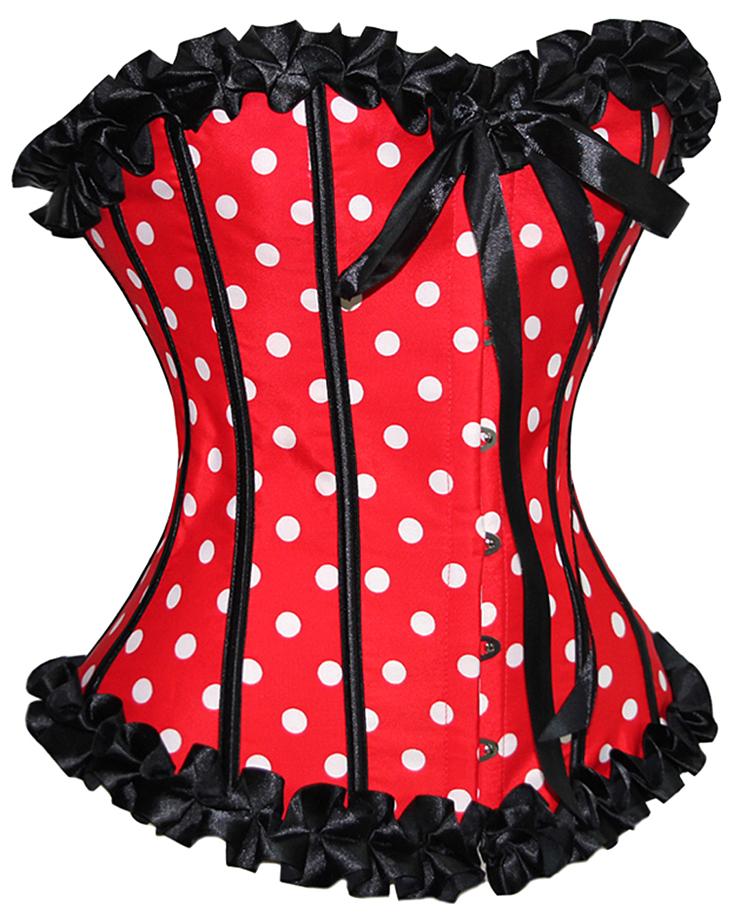 Red Polka Dot Corset, Corsets, Polka Dot Corset, #N1844