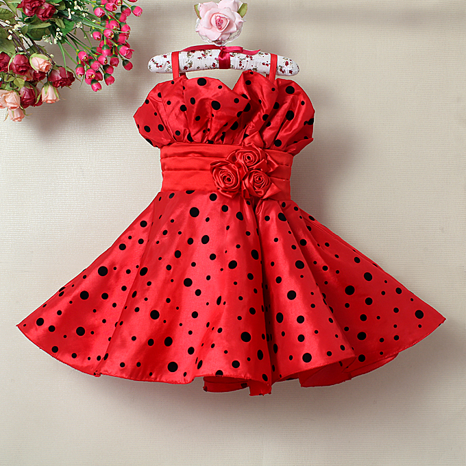 Red Printed Dot Straps Dress N9119