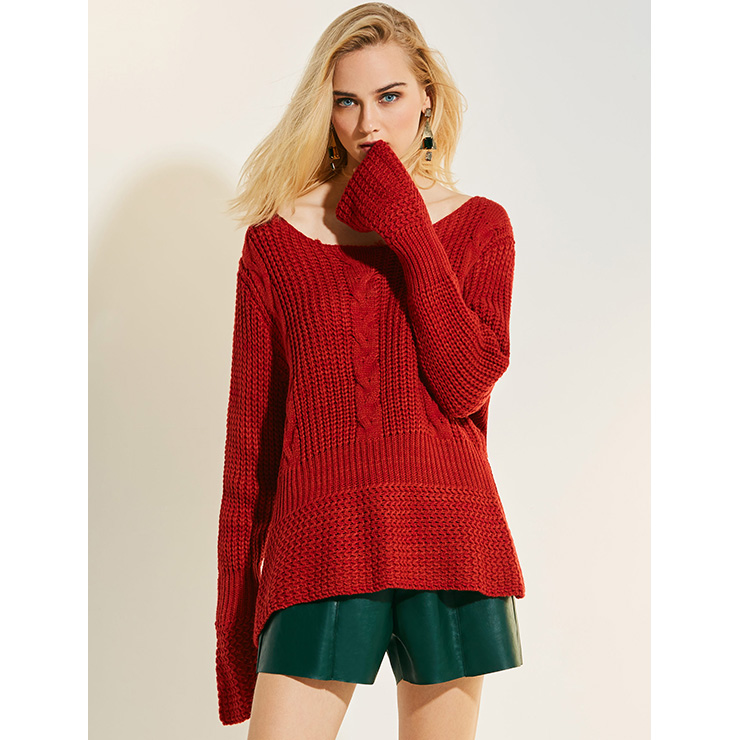 Women's Red Round Neck Flare Sleeve Pullover Loose Sweater N15775