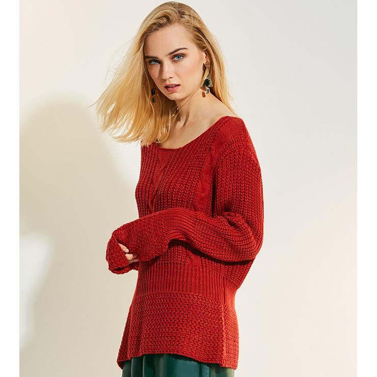 Red Fashion Sweater, Sexy Women