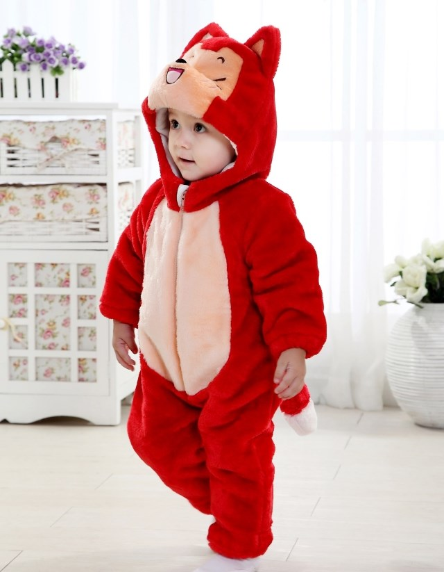 Baby Raccoon Climbing Clothes, Halloween Animal Costume Baby, Red Raccoon Romper Jumpsuit Baby, #N6261