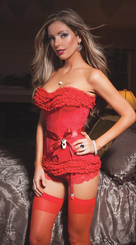 Red Ruffled Corset, Red Corset, Romantic Corset, Christmas Corset, #N4746