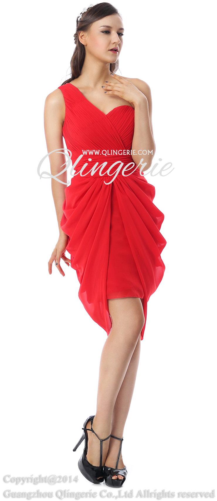 Fashion Red Ruffles One Shoulder Empire Waist Chiffon Knee