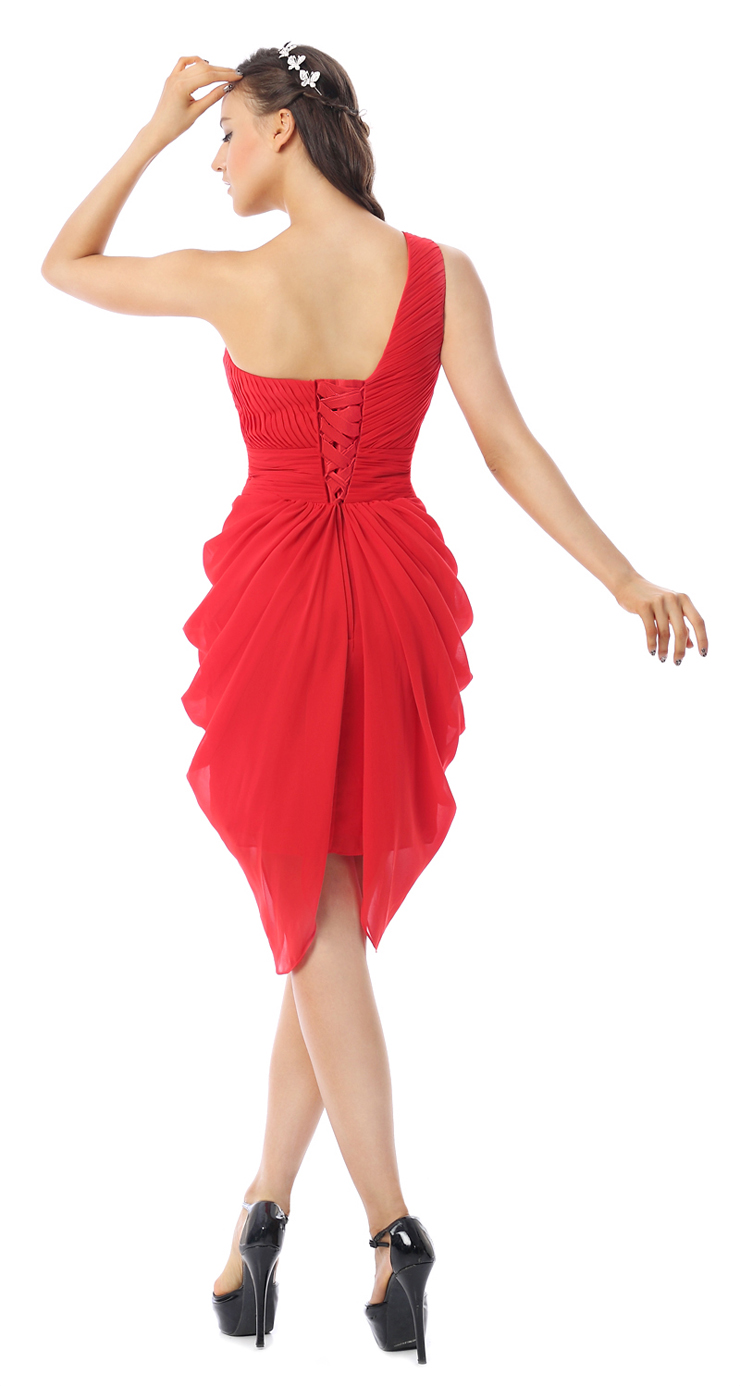 Fashion Red Ruffles One Shoulder Empire Waist Chiffon Knee