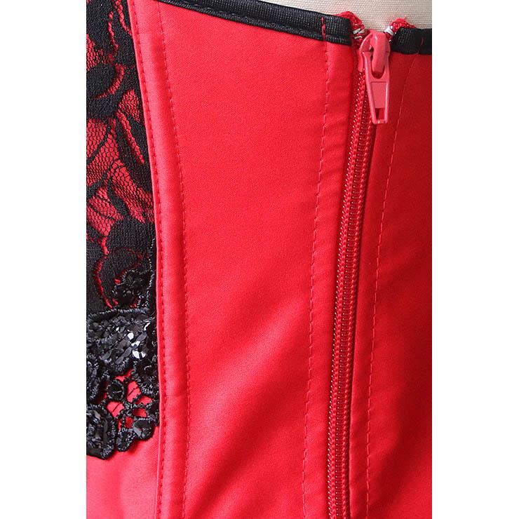 Sexy Red Satin Corset, Cheap Overbust Corset, Fashion Black Sequins Flowers Overbust Corset, Women