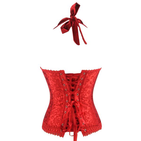 Elegant Red Halter Corset, Cheap High Quality Corset, Jacquard Weave Lace Edge Overbust Corset, Christmas Corset, #N9728