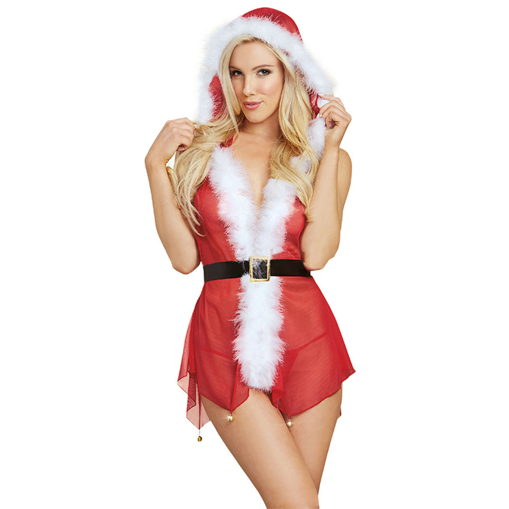 Sexy Red Halter Low Cut See-through Backless Christmas Santa Girl Lingerie Set XT18300