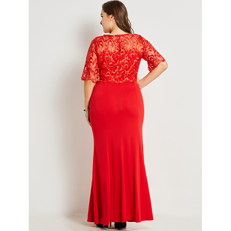 Women S Red Round Neck See Through Lace Splicing Plus Size