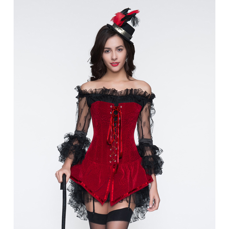 2pcs Red Velvet Lace-up Corset & Black Lace Dress Christms N10897