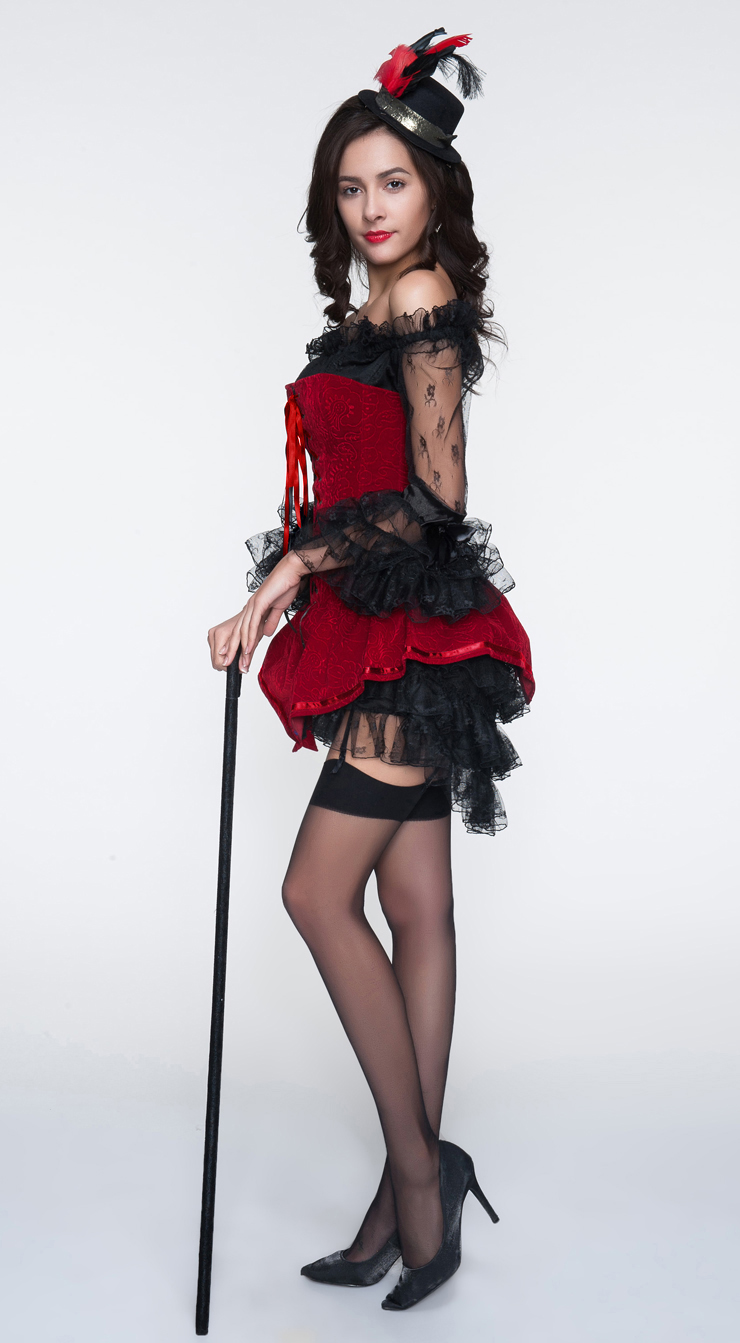 Sexy Red Corset and Black Dress, Velvet Corset & Black Lace Dress, Cheap Halloween Costume, Women