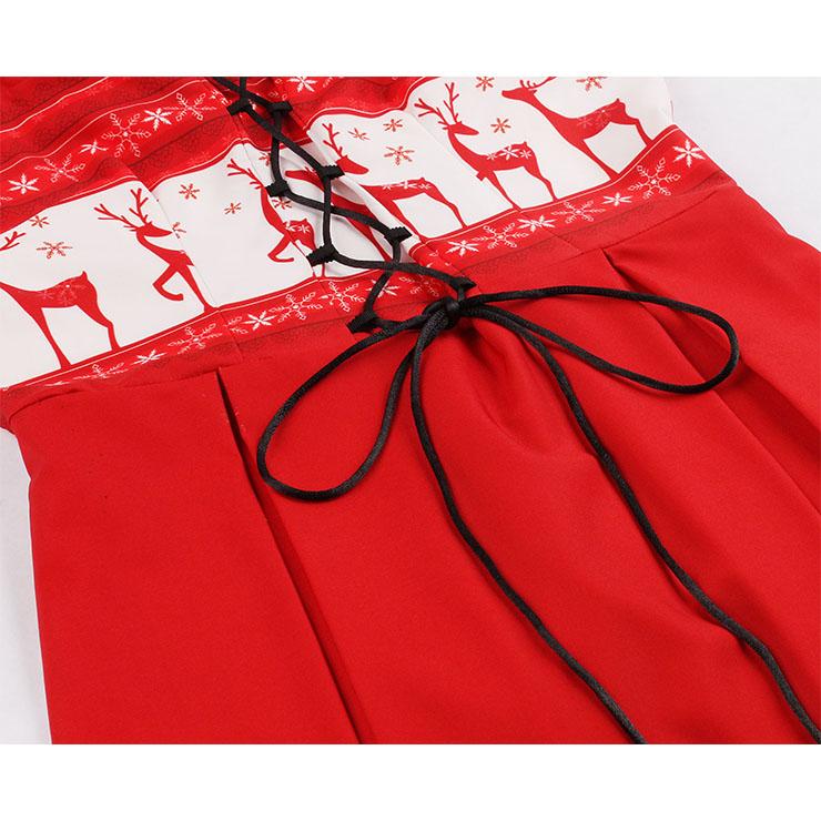 Fashion Dress, Womens Retro Dress, Elegant Round-neck Sleeveless Dress, Red-white Christmas Elements Midi Dress, Elegant Sleeveless Dress, Reindeer Snowflake Round-neck Sleeveless Dress,#N18275