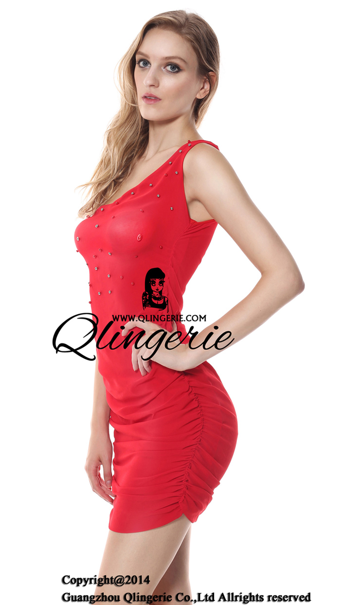 One Shoulder Form, Red party dress, One shoulder party dress, #N6767