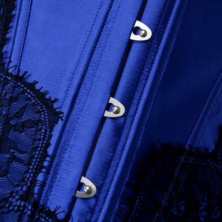 Retro Corset, Sexy Blue Overbust Corset, Cheap Busk Closure Corset, Retro Satin Corset with Lace, Retro Overbust Corset, #N18017