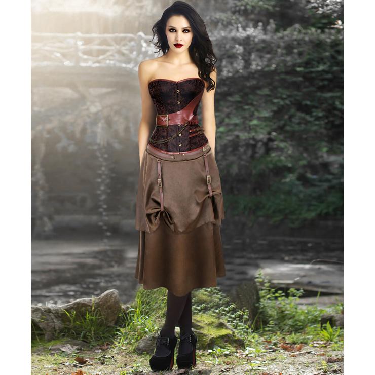 Retro Brown Jacquard Buckle Overbust Corset and Vintage Satin Skirt Set N13048