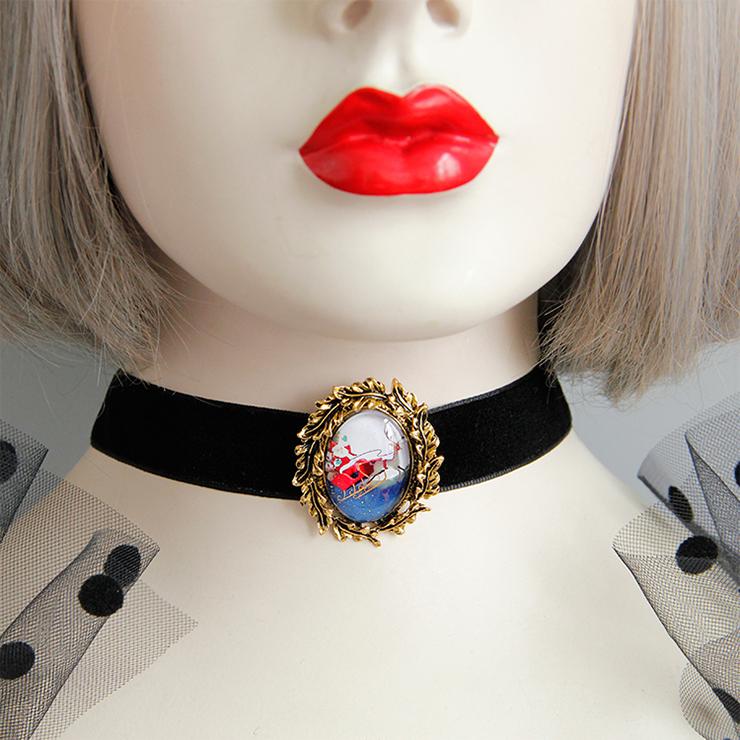 Retro Christmas Santa and Reindeer Badge Black Choker Necklace J18621