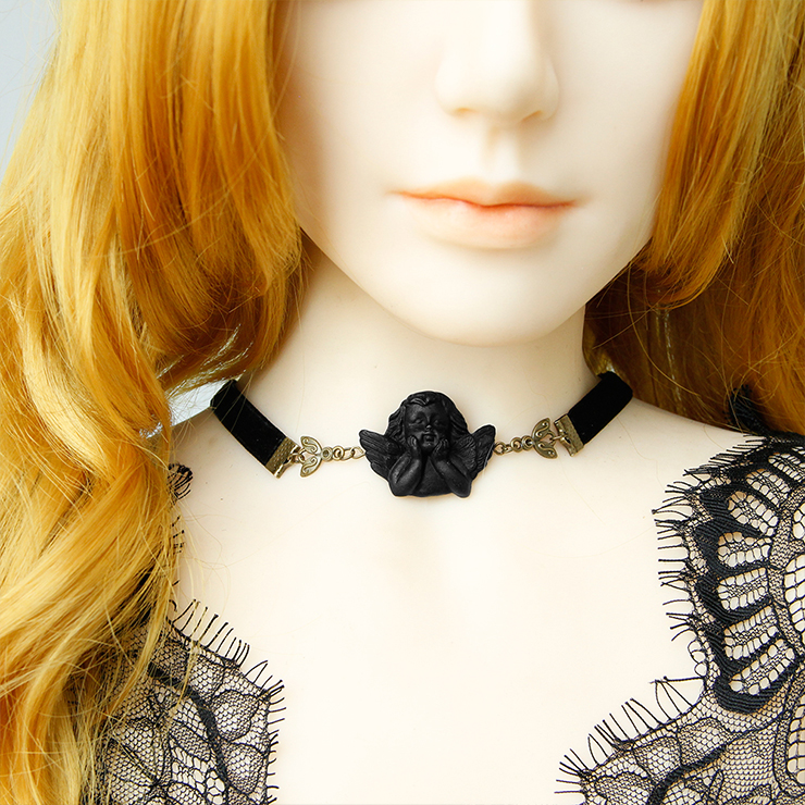 Vintage Halloween Necklace, New Gothic Necklace, Gem Necklace, Vintage Necklace, Cloth Belt Choker, Gothic Necklace for Women,Alloy Spider Amber Pendant Necklace, #J19701