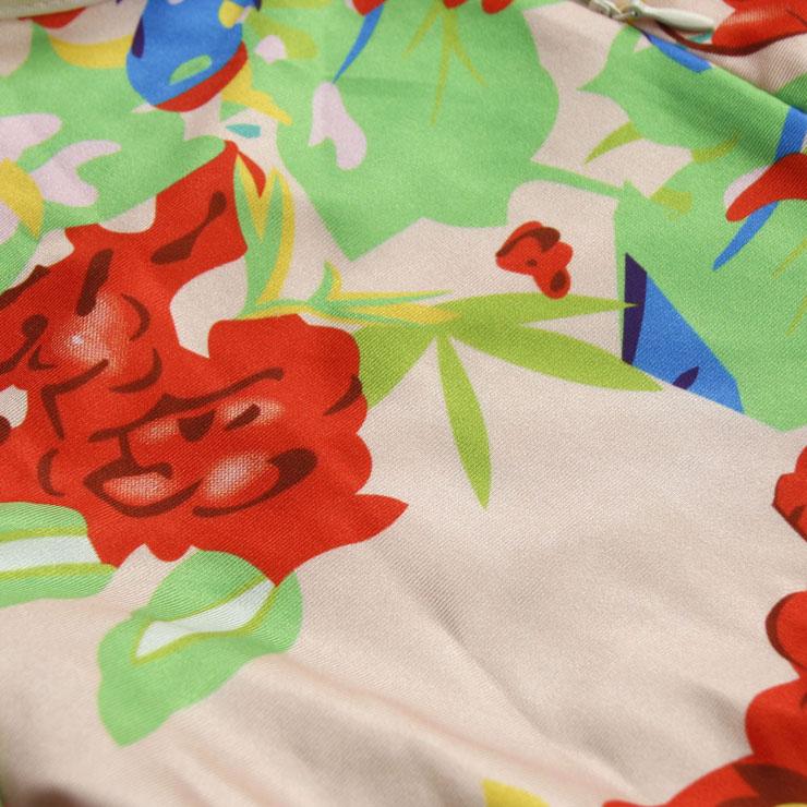 Retro Short Sleeve Jumpsuit, Around Neck Floral Print  Short Playsuit, High Waist Floral Print Short Overalls, #N8935