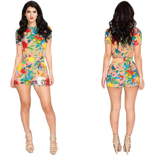 Retro Floral Print Short Jumpsuit N8935