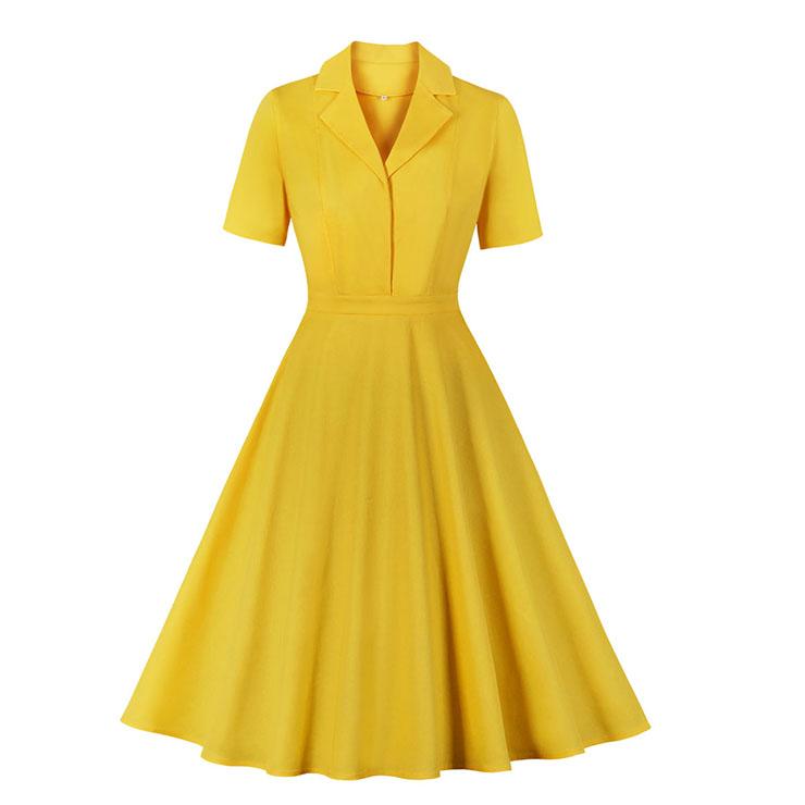 Retro Hepburn Solid Color Lapel Short Sleeve High Waist Midi Swing Dress N20966