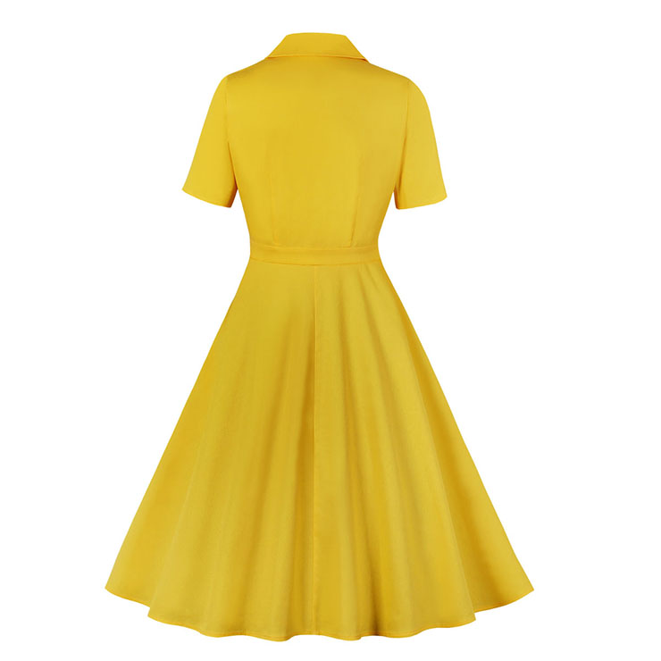 Sexy A-line Dress,Plus Size Spring Dress,Vintage Dresses for Women,High Waist Dresses for Women,Lapel Dress for Women, Daily Solid Color Dress,High Waist Midi Swing Dress, #N20966