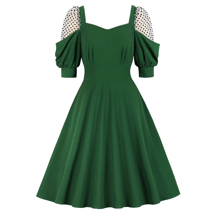Vintage Green Square Collar Sheer Mesh Dots Lantern Sleeve High Waist A-line Dress N21352