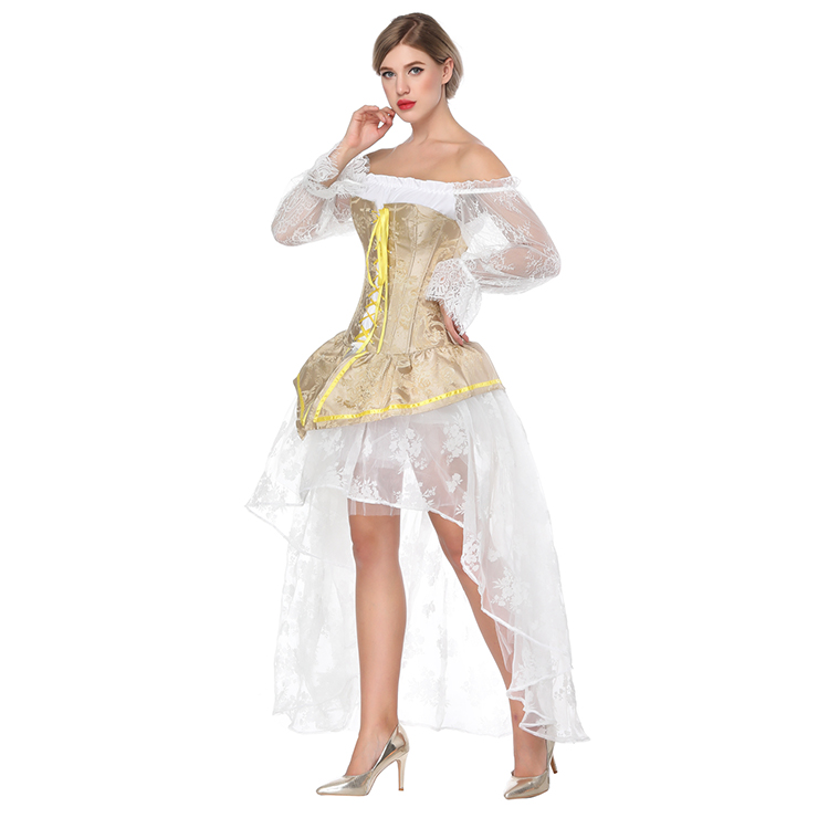 2e0806691daec Retro Royal Yellow Brocade Lace-up Overbust Corset with Organza High Low  Skirt Sets N18225