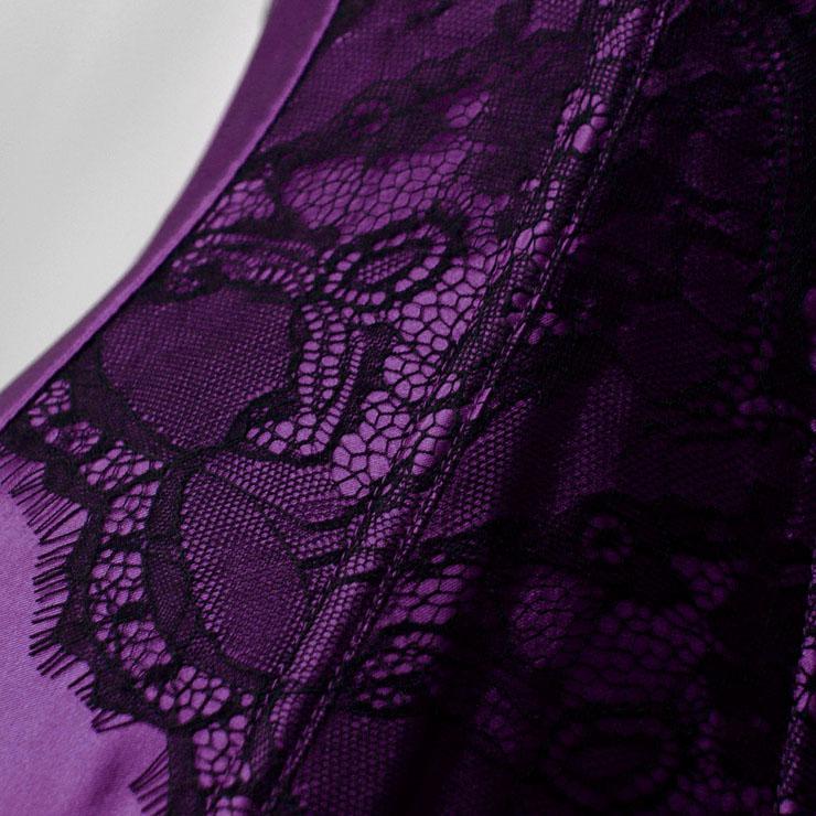 Retro Corset, Sexy Purple Overbust Corset, Cheap Busk Closure Corset, Retro Satin Corset with Lace, Retro Overbust Corset, #N18018