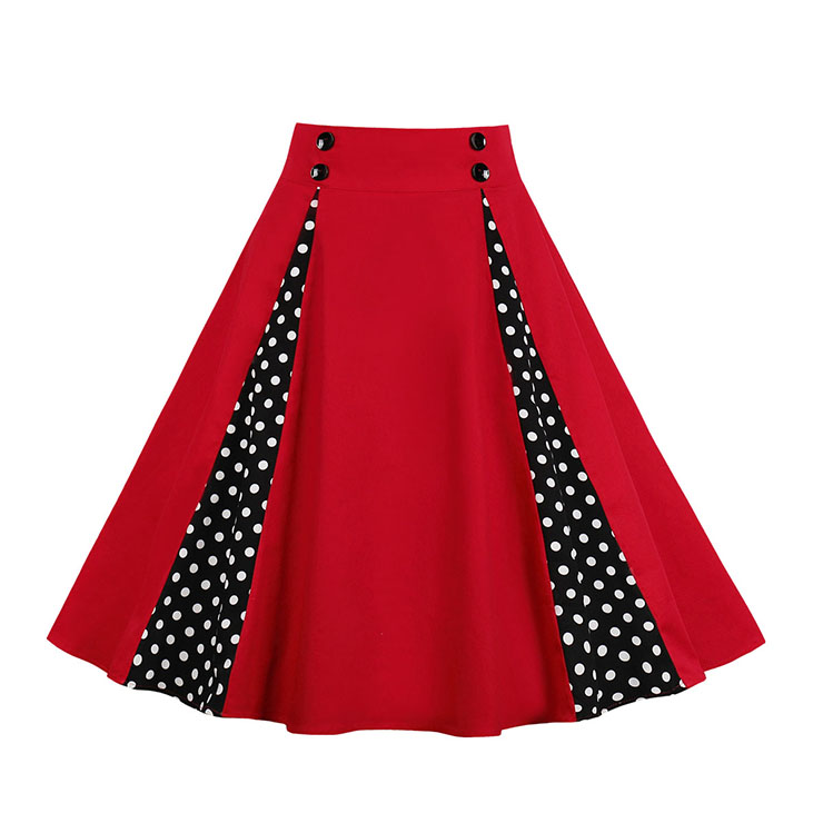 1950's Retro Red Polka Dots Rockabilly High Waist Flared Pleated Skirt HG18702