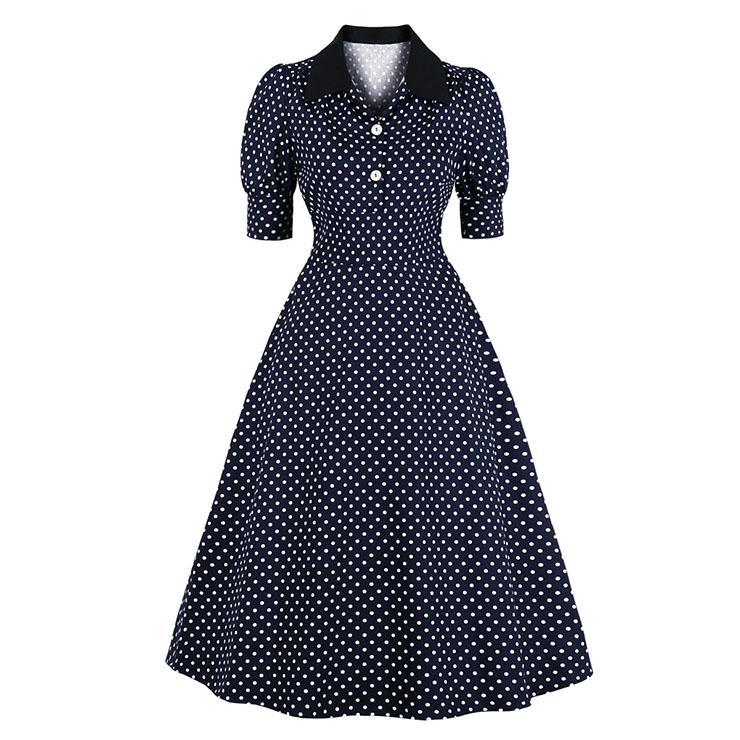 Fashion Navy-blue Lapel Half Sleeve Polka Dots Print Autumn A-line Swing Dress N20784