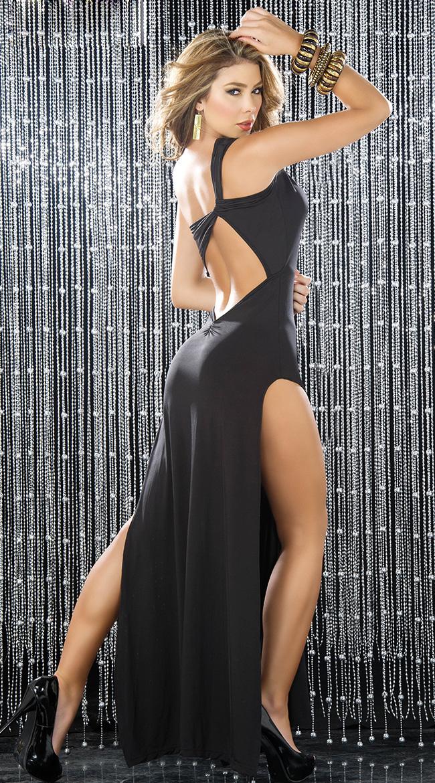 Rhinestone Burst Gown, Long Black Gown, Long Gown, #N5379