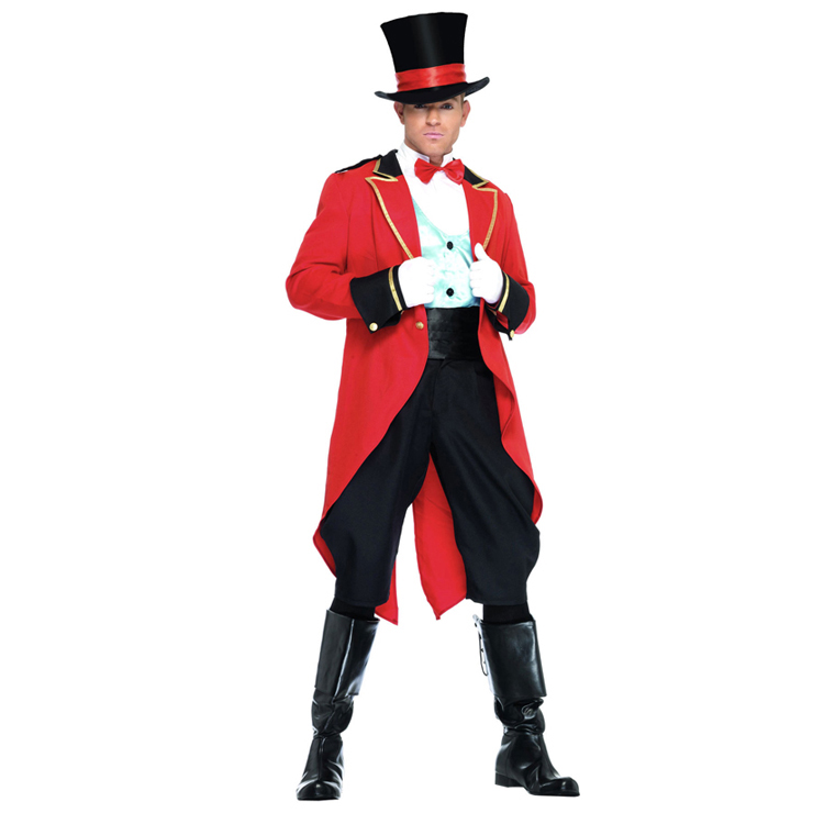 Red Ringmaster Swallow-tailed Adult Costume with Top Hat N4573