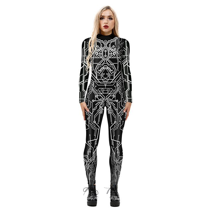 New Product Robot 3D Printed High Neck Long Bodycon Jumpsuit Halloween Costume N21252