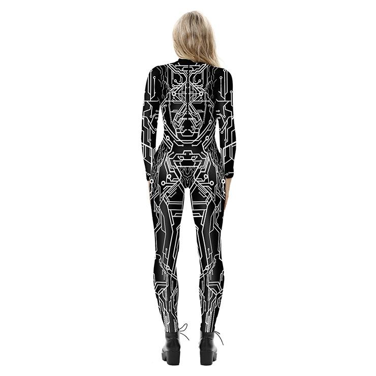 Robot Printed Jumpsuit, Halloween Robot High Neck Slim Fit Bodysuit, Halloween Bodycon Jumpsuit, Long Sleeve High Neck Jumpsuit, Halloween Robot Jumpsuit for Women, #N21252