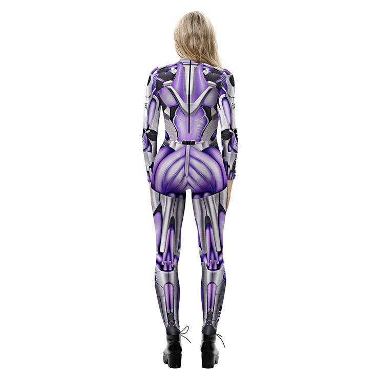 Robot Printed Jumpsuit, Halloween Robot High Neck Slim Fit Bodysuit, Halloween Bodycon Jumpsuit, Long Sleeve High Neck Jumpsuit, Halloween Robot Jumpsuit for Women, #N21253